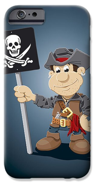 Pirate iPhone Cases - Pirate Cartoon Man Jolly Roger Sign iPhone Case by Frank Ramspott