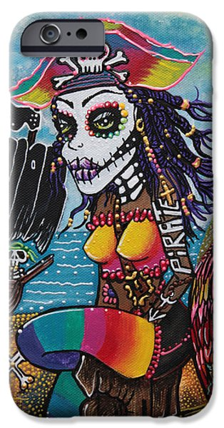 Pirate Ships Paintings iPhone Cases - Pirate Girl - Surfs Up iPhone Case by Laura Barbosa