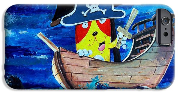 Scott Nelson Paintings iPhone Cases - Pirate Kitty iPhone Case by Scott Nelson