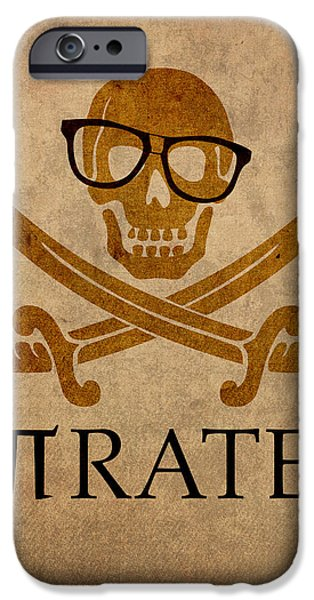 Nerd iPhone Cases - Pirate Math Nerd Humor Poster Art iPhone Case by Design Turnpike