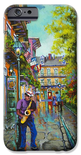 Alley Paintings iPhone Cases - Pirate Sax iPhone Case by Dianne Parks