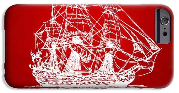 Pirate Ship iPhone Cases - Pirate Ship Artwork - Red iPhone Case by Nikki Marie Smith