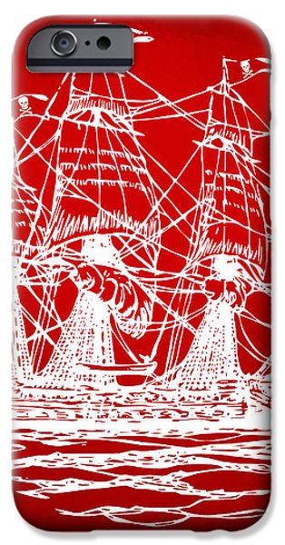 Pirate Ship Artwork - Red iPhone Case by Nikki Marie Smith