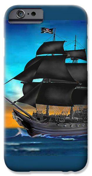 Pirate Ships iPhone Cases - Pirate Ship At Sunset iPhone Case by Glenn Holbrook