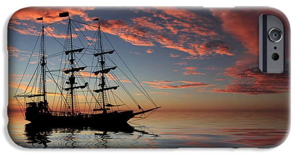Sailboat Ocean iPhone Cases - Pirate Ship at Sunset iPhone Case by Shane Bechler