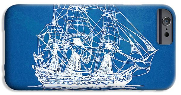 Pirate Ship iPhone Cases - Pirate Ship Blueprint Artwork iPhone Case by Nikki Marie Smith