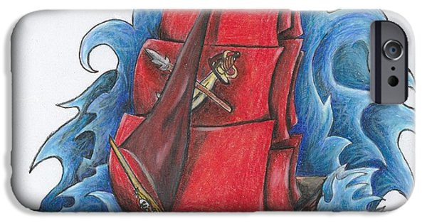 Pirate Ship Drawings iPhone Cases - Pirate Ship iPhone Case by Melissa Sink