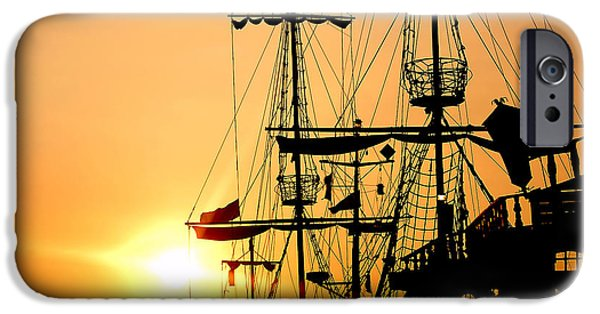 Pirate Ship iPhone Cases - Pirate ship iPhone Case by Michal Bednarek