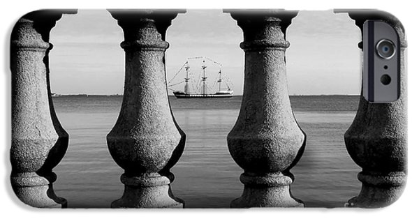 Pirate Ship iPhone Cases - Pirate ship on the Bayshore iPhone Case by David Lee Thompson