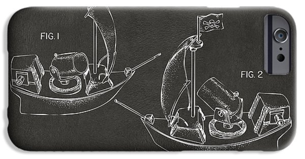 Pirate Ship iPhone Cases - Pirate Ship Patent Artwork - Gray iPhone Case by Nikki Marie Smith