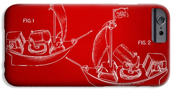Pirate Ship iPhone Cases - Pirate Ship Patent Artwork - Red iPhone Case by Nikki Marie Smith