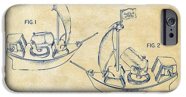 Pirate Ship iPhone Cases - Pirate Ship Patent Artwork - Vintage iPhone Case by Nikki Marie Smith