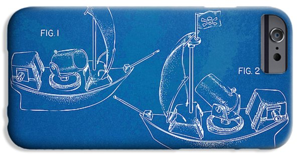 Pirate Ships iPhone Cases - Pirate Ship Patent - Blueprint iPhone Case by Nikki Marie Smith