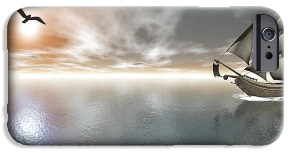 Sailboat Ocean iPhone Cases - Pirate Ship Sailing The Ocean iPhone Case by Elena Duvernay