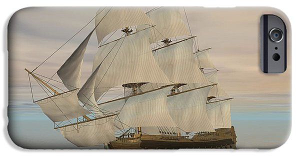 Pirate Ship iPhone Cases - Pirate Ship With Black Jolly Roger Flag iPhone Case by Elena Duvernay
