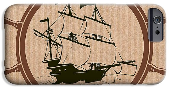 Pirate Ship Mixed Media iPhone Cases - Pirate Ships Wheel iPhone Case by Mindy Bench