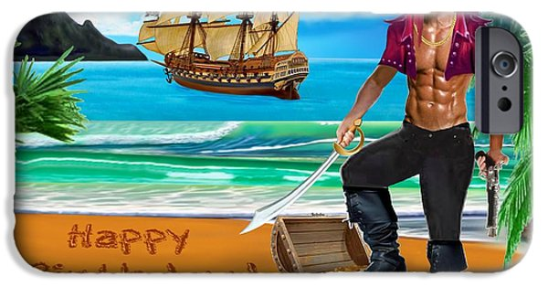 Pirate Ship iPhone Cases - Pirate Stud Birthday Wish iPhone Case by Glenn Holbrook