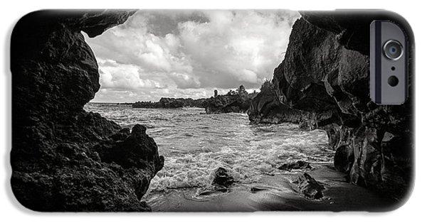 Pa iPhone Cases - Pirate Treasure Cave Pailoa Beach iPhone Case by Edward Fielding
