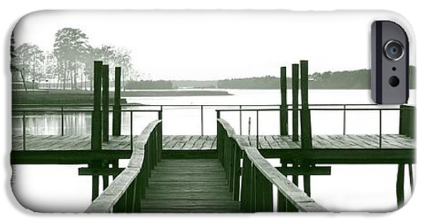 Michael iPhone Cases - Pirates Cove Pier in Monochrome iPhone Case by Michael Tidwell