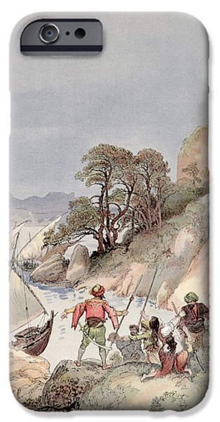 Slave iPhone Cases - Pirates from the Barbary Coast Capturin gslaves on the Mediterranean Coast iPhone Case by Albert Robida