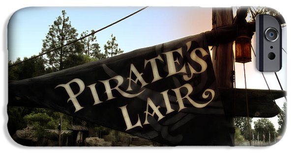Beauty Mark iPhone Cases - Pirates Lair Signage Frontierland Disneyland iPhone Case by Thomas Woolworth