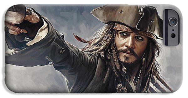 Pirate iPhone Cases - Pirates of the Caribbean Johnny Depp Artwork 2 iPhone Case by Sheraz A