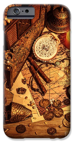 Pirate Drawing iPhone Cases - Pirates treasure still life iPhone Case by Anna Omelchenko