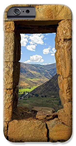 River View iPhone Cases - Pisac ruins iPhone Case by Alexey Stiop