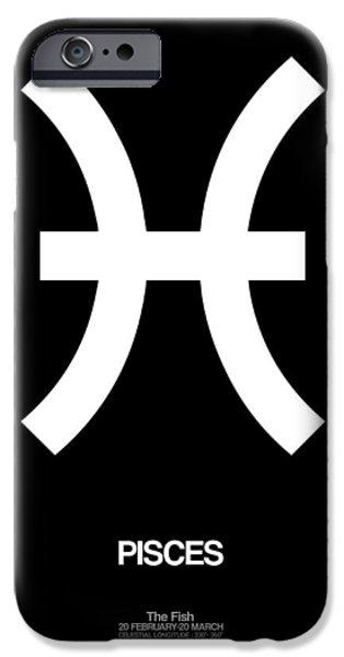 Aquarius iPhone Cases - Pisces Zodiac Sign White and Black iPhone Case by Naxart Studio