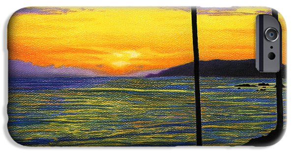 Beach Landscape Drawings iPhone Cases - Pismo Beach California Sunset iPhone Case by Sarah Batalka