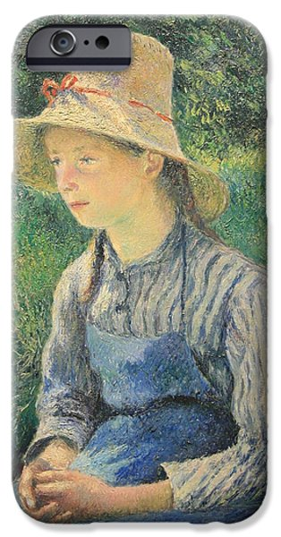 Cora Wandel iPhone Cases - Pissarros Peasant Girl With A Straw Hat iPhone Case by Cora Wandel