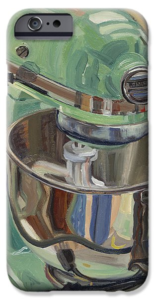 Stainless iPhone Cases - Pistachio Retro Designed Chrome Flour Mixer iPhone Case by Jennie Traill Schaeffer