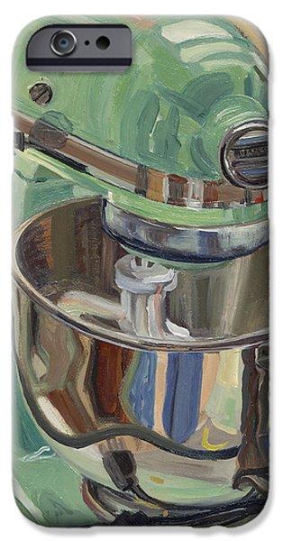 Pistachio Retro Designed Chrome Flour Mixer iPhone Case by Jennie Traill Schaeffer