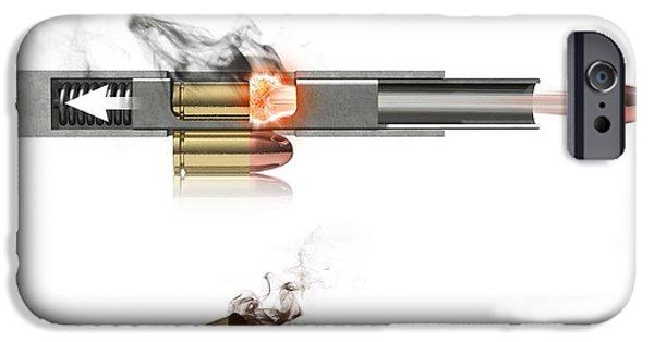 Mechanism iPhone Cases - Pistol Firing Mechanism, Artwork iPhone Case by Claus Lunau