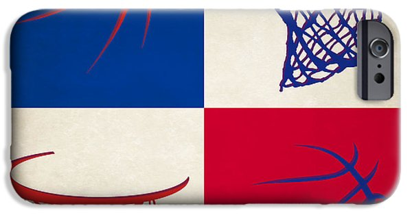 Dunk iPhone Cases - Pistons Ball And Hoop iPhone Case by Joe Hamilton