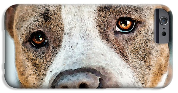 Little Dogs iPhone Cases - Pit Bull Dog - Pure Love iPhone Case by Sharon Cummings