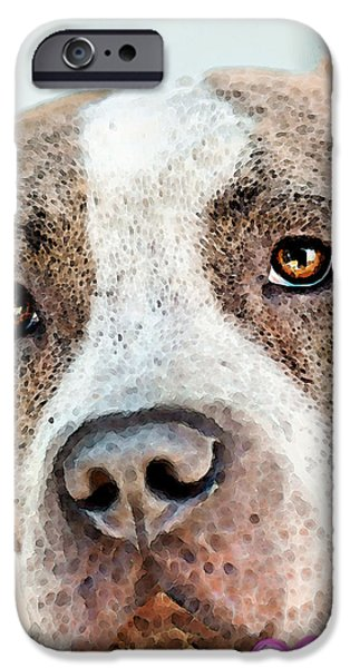 Pit Bull Dog - Pure Love iPhone Case by Sharon Cummings