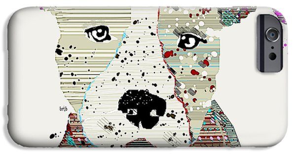 American ist Mixed Media iPhone Cases - Pit Bull Graffiti iPhone Case by Bri Buckley