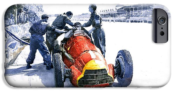 Classic F1 iPhone Cases - Pit Stop Alfa Romeo158 British GP 1950 J M Fangio iPhone Case by Yuriy  Shevchuk