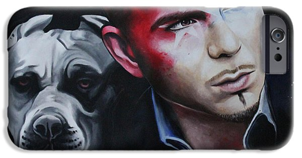Pitbull Singer iPhone Cases - Pitbull portrait iPhone Case by Alessandra Pagliuca