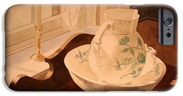 Old Pitcher Paintings iPhone Cases - Pitcher and the Bowl iPhone Case by Jim Gerkin