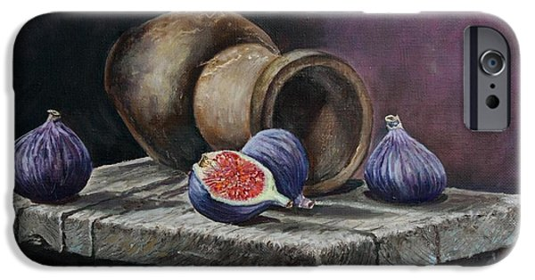 Old Pitcher Paintings iPhone Cases - Pitcher and figs iPhone Case by Vita Schagen