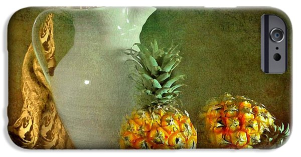 Still Life With Pitcher iPhone Cases - Pitcher with Pineapples iPhone Case by Diana Angstadt