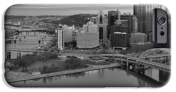 City Scape iPhone Cases - Pitsburgh Skyline Black And White Panorama iPhone Case by Adam Jewell