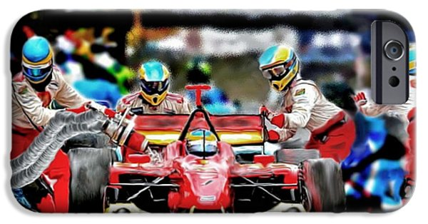 Indy Car iPhone Cases - Pitstop iPhone Case by Tom Sachse