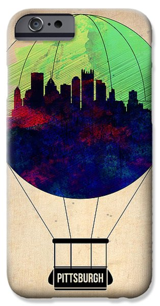 Towns Digital Art iPhone Cases - Pittsburgh Air Balloon iPhone Case by Naxart Studio