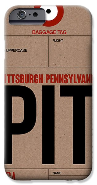 Town iPhone Cases - Pittsburgh Airport Poster 1 iPhone Case by Naxart Studio