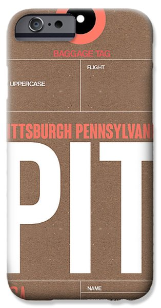 Town iPhone Cases - Pittsburgh Airport Poster 2 iPhone Case by Naxart Studio