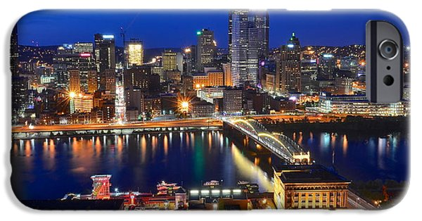 Pennsylvania Baseball Parks iPhone Cases - Pittsburgh Blue Hour Panorama iPhone Case by Frozen in Time Fine Art Photography