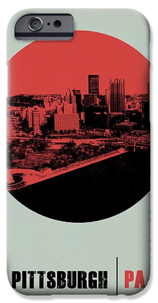 Pittsburgh iPhone Cases - Pittsburgh Circle Poster 2 iPhone Case by Naxart Studio